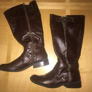 G by Guess Brown Wide Calf Riding Boots
